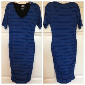 Luxe Essentials Blue and black striped dress
